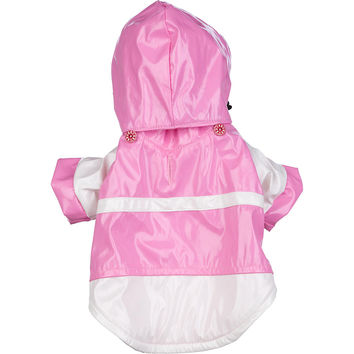 Two-Tone Pvc Waterproof Adjustable Pet Raincoat - Pink & White: X-Small