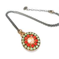 Necklace, Coral, Mint, Green, Medallion