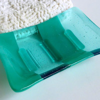 Soap Dish in Blue Green and Aquamarine Glass by bprdesigns on Etsy