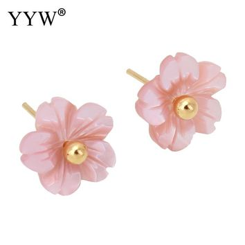 YYW New Hot Jewelry Bridal Wedding Mother of Pearl Pink Shell Stud Earring Gold-color Post Pin 12mm Flower Shell Stud Earrings