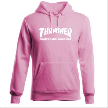 """Thrasher""Thickening hoodie hooded cotton red flame White letters Pink"