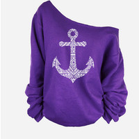 Fashion solid color anchor pattern T-shirt-2