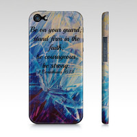 Be Strong - iPhone 4 4S 5 5S 5C 6 Hard Case Corinthians Floral Art Purple Royal Blue Bible Abstract, Faith Scripture God Biblical Verse