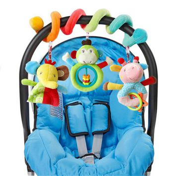 Baby Rattles Toys Cute Animal Plush Toy Super Soft Multifunctional Bed Crib Hangings Kids Toy For Christmas Gift