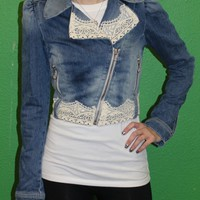 Fornarina Women's Jean Jacket with Ivory Lace Trim