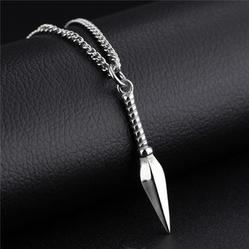 Striking Unisex Necklaces Stainless Steel Vintage Spearhead Arrowhead Pendant Necklace for Men Special Surf Bike Chocker Jewelry