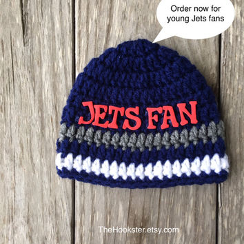 Handmade Winnipeg Jets Baby Baby Beanie in Team Colors Newborn to 24 mths Unisex Baby Jets Hat Unisex Crochet Baby Jets Beanie Ready to ship