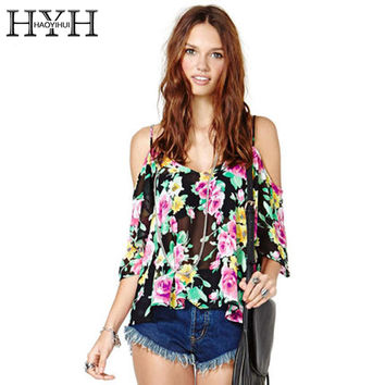 HYH HAOYIHUI Floral Print Women Blouses Shirt Slash Neck Backless Basic Off Shoulder Tops Ladies Casual Cute Street Strap Shirt