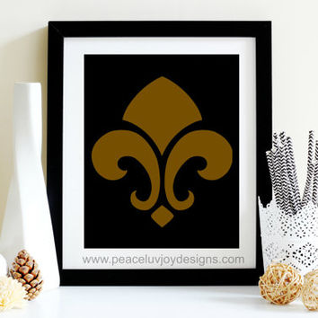 Fleur-De-Lis black and gold printable, New Orleans Saints, 8x10 instant download printable, wall print, fan fanatic