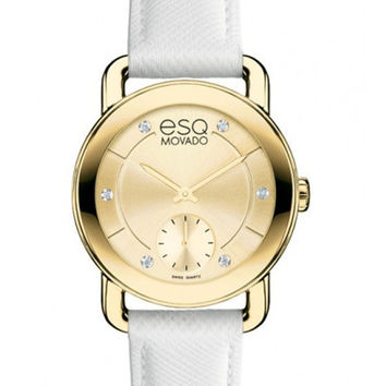 ESQ Movado Ladies Diamond Classica Watch - White Leather Strap - Gold-Tone