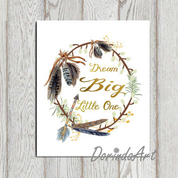 Dream big little one print Navy blue gold printable Feather wreath Nursery wall art Arrow Boys bedroom decor Boys wall art quote DOWNLOAD