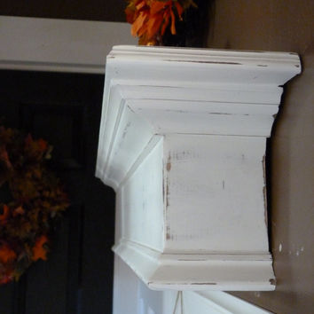 "White Mantle, 48""L Black Shelf / Mantel, Floating Shelf, Wall Hanging, Fireplace Mantel, Shabby and Chic"