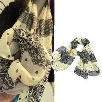 Lady Women's Long Chiffon Flower Scarf Wraps Shawl Stole Scarves (Size: 160 cm x 66 cm, Color: Multicolor) = 1705625348