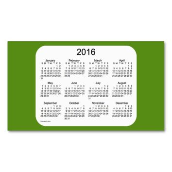 2016 Olive Drab Calendar by Janz Client Card Double-Sided Standard Business Cards (Pack Of 100)