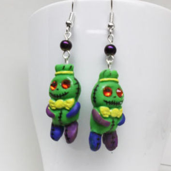 Voodoo Doll Earrings - gift for her, girlfriend, sister, teenager, cute, halloween, geek, mom, easter