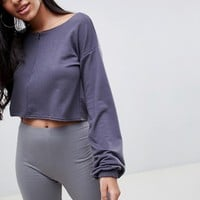 PrettyLittleThing Half Zip Crop Sweatshirt at asos.com