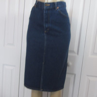 Vintage Lee Denim Skirt, High Waist Jean Skirt, Womens Teens Size 7 Skirt, Waist 27 Trendy Clothing Made in USA