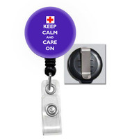 Nurse Retractable ID Badge Holder  Keep Calm and Care On PICK COLOR