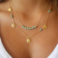 Women's Moon Multi Layer Necklace Gold