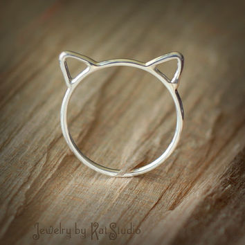 Cat ears ring - Crazy Cat Lady - cat ring - Sterling Silver 925 - 16 gauge - gift packaging