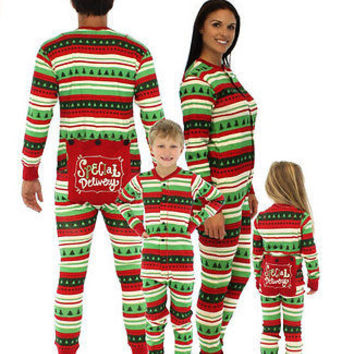Christmas Green Striped Pyjamas Matching Family PJs Mum Dad Big Little Baby  Kids 53cae3832317