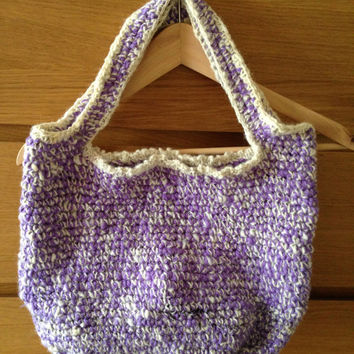 Crochet Hand Bag, Tote, made from handspun Purple Merino and handspun natural Jacobs wool with flecks of black, shoulder bag OOAK