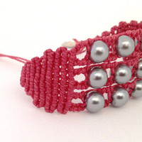 Triple macrame bracelet, valentines day, gift for woman, hand knotted, beaded cuff bracelets, made in Italy, grey beads, pulsera for her