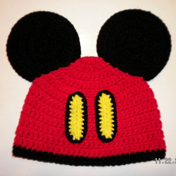Custom crochet Mickey Mouse pants ears beanie hat photo prop