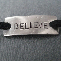 BELIEVE Wrap Bracelet - Inspirational Motivational Jewelry - Nickel Silver Pendant on 3 feet of Micro Fiber Suede - Believe Bracelet