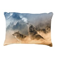 Wolves Howling at Moon Throw Pillow
