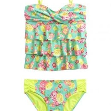 Floral Bandeau Tankini Swimsuit | Girls Tankinis Swimwear | Shop Justice