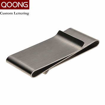 QOONG Stainless Steel Slim Double Sided Men Women Money Clip Wallet Metal Credit Card Money Holder Bill Steel Clip Clamp ML1-005