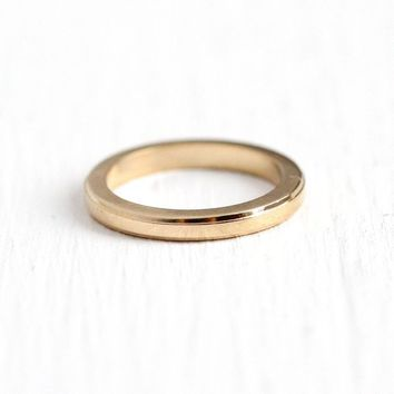 Gold Baby Ring - Vintage 14k Rosy Yellow Gold Tiny Plain Band - 1950s Size 1/4 Midi Childrens Dainty Round Charm Petite Classic Fine Jewelry