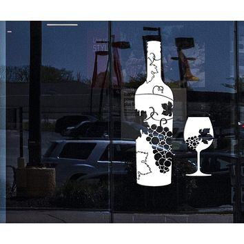 Window Vinyl Wall Decal Wine Bottle Glass Grapes Bar Alcohol Stickers Mural Unique Gift (ig4173w)
