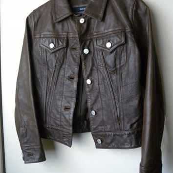 Brown Leather Jacket, Gap Women's Size XS, Women's Leather Jacket, Jean Jacket Style in Leather