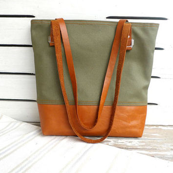 Khaki Waxed Canvas Tote - Leather Bottom / Leather Single Strap Shoulder bag / Tote Bag / Diaper Bag