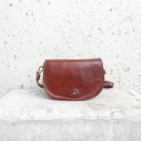 Vintage THE BRIDGE Brown Leather Purse // Crossbody Bag // Shoulder Bag // size Small // Made in italy