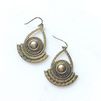 Antiqued Deco Layered Earrings