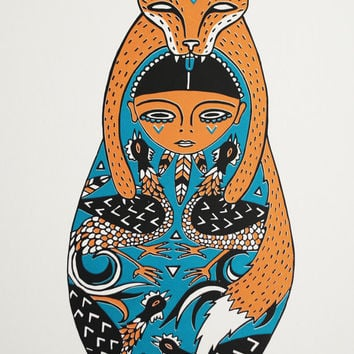 Fox Doll Print A3 Kitsune Matryoshka/ Russian Doll Limited Edition Silkscreen Print