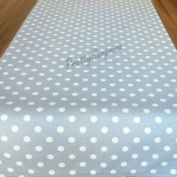 Gray Polka-Dot Table Runner, Colorful Table Cover, Cotton Table Runner, Pastel Tablecloth, Home Decor,  Outdoor Table Runner