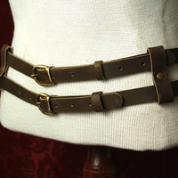 Steampunk Awesome Double Belt Military/ Tank Girl  inspired. Brown, black or oxblood Leather & antique brass- Men / Women browncoat SCA LARP