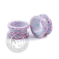 Metallic Birthday Frosting Splatter Threaded Steel Tunnels