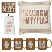 Cabin Lover's Deluxe Home Decorator's Gift Set (Jumbo Pillow, Decorative Wall Sign, Printed Kitchen Towel, Set of 4 Mugs)