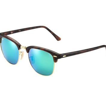 Ray Ban Clubmaster Sunglasses Tortoise Frame/Green Mirror Lens