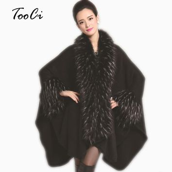 New Style Fashion Winter Women Faux Fur Coat  Imitation Ostrich Feather Poncho Cape Outerwear Feminino Casaquinho
