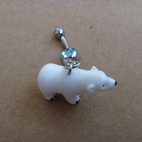 Lovely Cute Polar Bear Charm Belly Button Ring, Crystal Belly Ring,