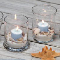 40 Beach Theme Candles - Sea shells - Sand - Votive or Tea Light - Wedding/ Event Decor