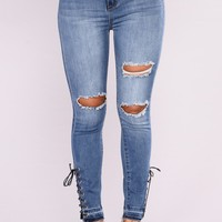 Get Me Home Lace Up Jeans - Medium Blue Wash