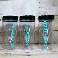 Custom Wedding Vino to Go Cups- Bridal Party - Custom Color - Personalized - Wine Goblets with Lid