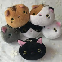 Super CUTE 6Designs - Gift Cats 7CM Plush Stuffed TOY doll , Kid's Party Small keychain Cat Toy Pendant Gift plush TOY DOLL
